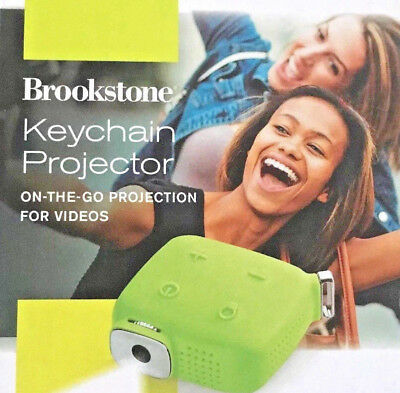 Brookstone Keychain Mini Portable Projector *Green* BRAND NEW!