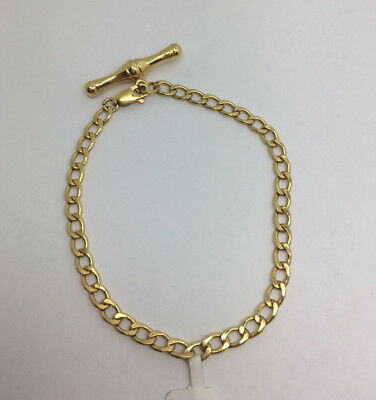 Ladies 9ct Gold Curb Bracelet With T-Bar 2.65g (38873)