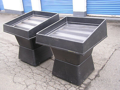 2- Large Plastic Produce Display Carts w/Drain Hose On Wheels