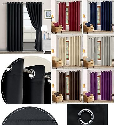Thermal Blackout Curtains With Eyelet Ring Top + Tie Backs Supersoft Readymade