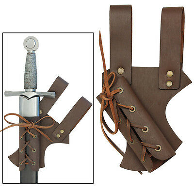 Medieval Renaissance Hawkwood Knights Sable Leather Crusader Sword Frog