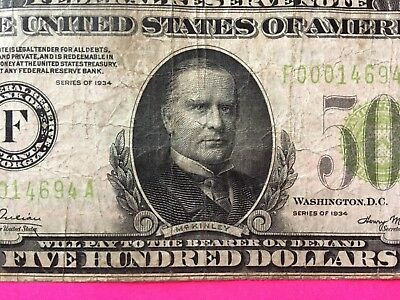 1934 $500 US small note original currency rare no reserve auction