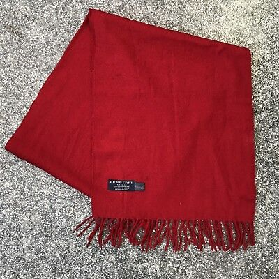BURBERRY Scarf 100% Cashmere Wool Red Vintage  - (DP594)
