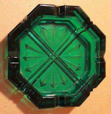Vintage Teal Glass Octagonal Ash Tray Thick Heavy Emerald Rare Collectable VGC