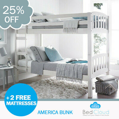Europa America 3FT x 5FT3 Short Single White Wooden Bunk Bed