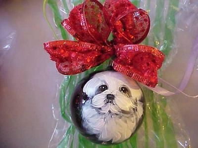 Two Maltese Puppies Hand Painted Christmas Ornaments