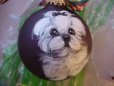 Maltese Puppy Hand Painted Glass Christmas Ornament