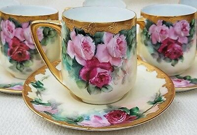 """Exquisite Rosenthal Bavaria 1900 Vibrant """"Red & Pink Roses"""" Floral Cup & Saucer"""