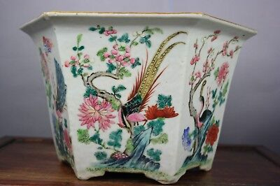 18th/19th C. Chinese Famille-rose Hexagon Flower Pot