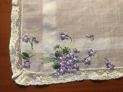 Antique / Vintage Handkerchief with Purple Flower Embroidery