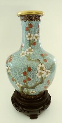 Vintage Painted Japanese  Vase with Wood Stand