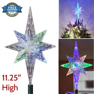 """Christmas Tree Topper Star LED Lights Kaleidoscope Projection Holiday 11 1/4"""""""