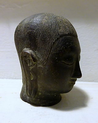 Unusual Buddha Small Statue Head Black Cast Metal Bronze? Antique Vintage