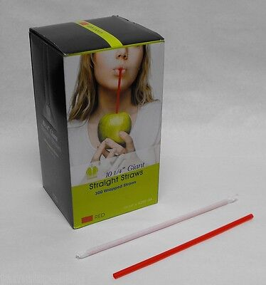 """300 piece 10.25"""" LARGE THICK RED Milk Shake & Smoothie  WRAPPED DRINKING STRAWS"""