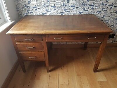 1920s antique oak kneehole writing desk w drawers large vintage wooden study