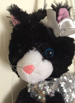 Sparkly Silver Sequin Plush Black Kitty Cat Zip Purse Hand Bag Poochie and Co