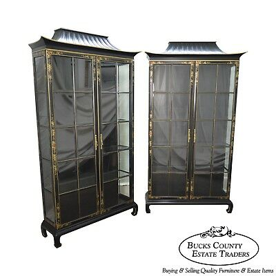 Hand Painted Pair of Black Pagoda Top Curio Display Cabinets