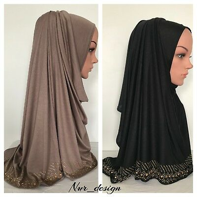 JERSEY Polyester Scarf Hijab Wrap Shawl Muslim Head cover Unstitched 170 x 60 cm