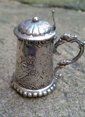 Miniature Sterling Solid Silver Cherub Tankard Antique