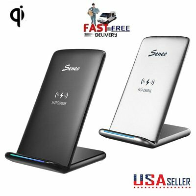 Fast Qi Wireless Charger Charging Stand Pad For Samsung Galaxy Apple iPhone X S8
