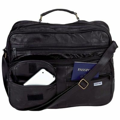 """New Genuine Leather Soft Lambskin 14"""" Laptop Tote Bag w Strap Suitcase Briefcase"""