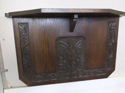 Dark Oak Carved Wall Mounted Stand Display Shelf.