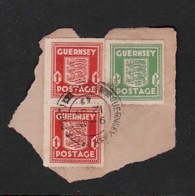 Guernsey 1942 Stamps From The German Occupation On Paper Including Strip