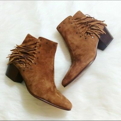 c555c333a98d6 SAM EDELMAN Ankle Booties Rudie Fringe Saddle Kid Suede Brown Boots New 4.5