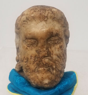 Antique Early Antiquity Marble Head Fragment Greek Roman Bust Greco-Roman