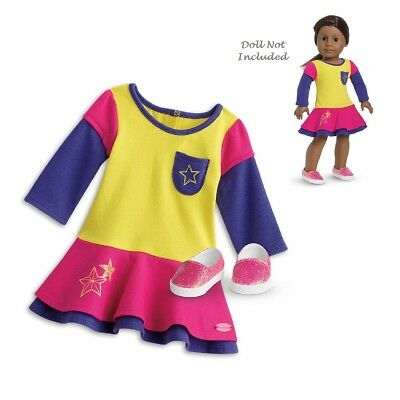 "American Girl TRULY ME PLAYFUL COLOR BLOCK OUTFIT for 18"" Dolls Dress Shoes NEW"