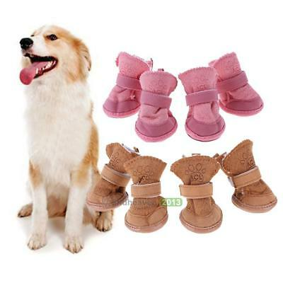 4Pcs Winter Small Dog Boots Anti-Slip Puppy Shoes Pets Protective Snow Booties