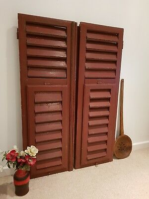 Large  VINTAGE WOODEN European window shutters shabby chic