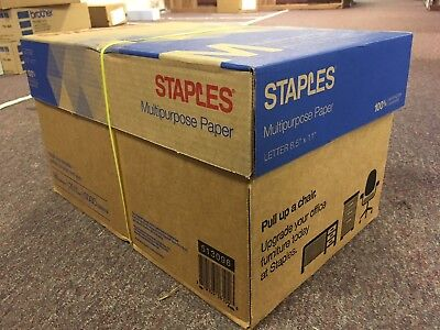 STAPLES White Multipurpose Paper 8.5x11 Print Laser DELIVERED FREE 5000 Sheets