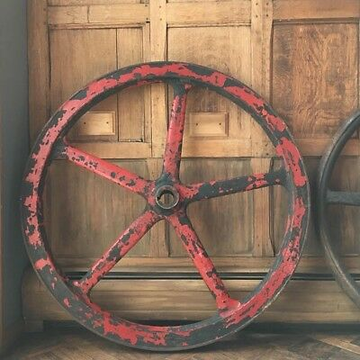 HUGE Antique Cast Iron Wheel, Industrial Printing Press Pulley Large Steel Wheel