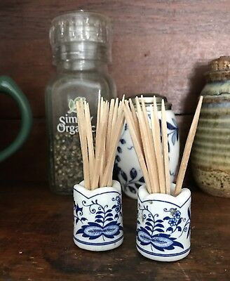 Blue Danube Germany Pair of Toothpick or Mini Candle Holders
