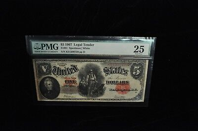 1907 $5 Five Dollar Read Seal PMG VF 25 /X51