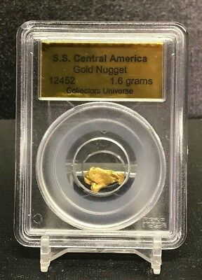1857 SS CENTRAL AMERICA TREASURE Exceedingly Rare 1.6 Grams Placer Gold Nugget!!