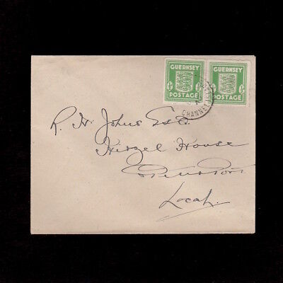GUERNSEY 1945 PAIR OF ½d  STAMPS FROM THE GERMAN OCCUPATION ON LOCAL COVER