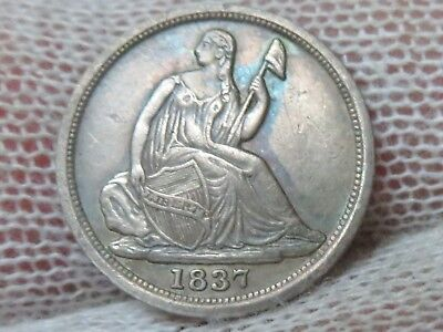 1837 NO STARS Silver Seated Liberty Half Dime and free shipping