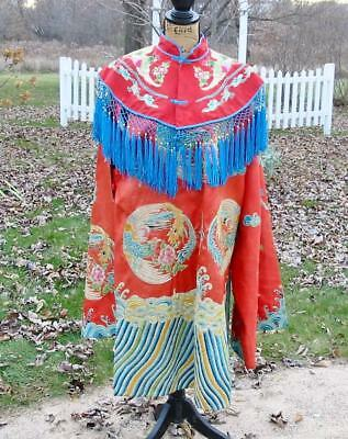 Beautiful Vintage Antique Chinese Embroidered Robe Jacket Cape Waves Phoenix