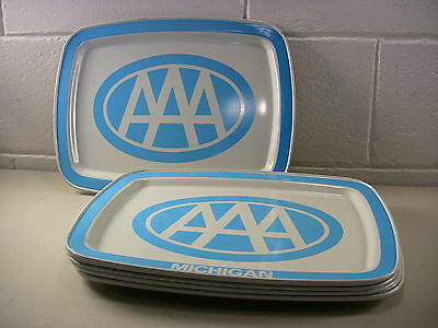 Vintage Metal Serving Tray Automobilia Advertising AAA Insurance Collectibles