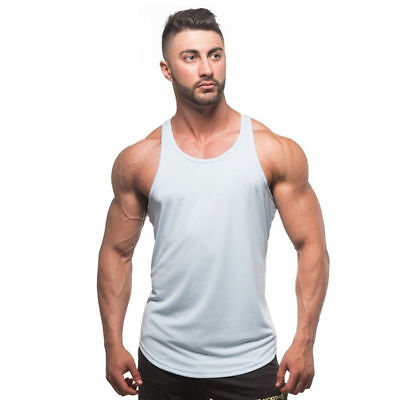 Summer Cotton Man Tank Top Blank Muscle Vest Gym Fitness Sleeveless Clothing