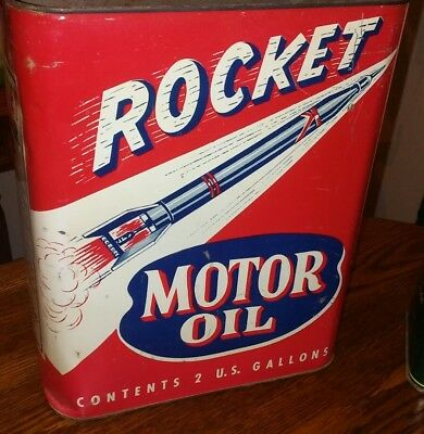 VINTAGE ROCKET 2 GALLON MOTOR OIL CAN SERVICE STATION New york advertising