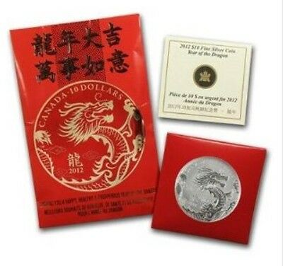 2012 Canada Year Of The Dragon $10 Fine Silver Coin