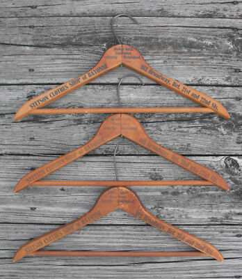 Lot of 3 VTG Stetson Clothes Shop of Bayonne New Jersey Wood Advertising Hangers