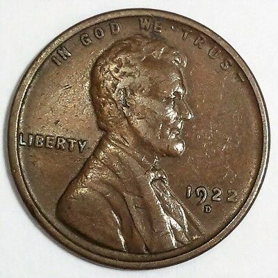 1922-D Lincoln Wheat Cent Penny Beautiful High Grade Coin Rare Date