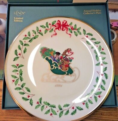 """Lenox 1991 Annual Holiday Christmas Collector Plate w/ Sleigh 10.5"""" 1st Edition"""