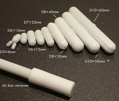 Magnetic stir bars, 6 to 60 mm length, teflon (PTFE) coated for magnetic stirrer