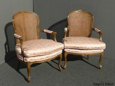 Pair Vintage French Provincial Country Cottage Cane Back Pink Accent Chair