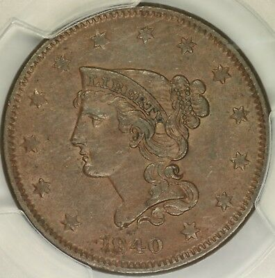 1840 Small/Large Date Braided Hair Large Cent PCGS AU53
